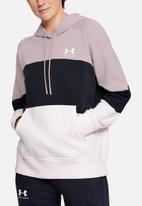 Under Armour - Rival fleece colour block hoodie - pink