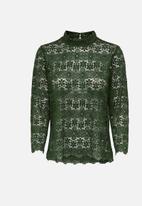 Jacqueline de Yong - Blond 7/8 lace top - khaki