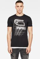 G-Star RAW - Perspective logo graphic slim fit tee - black