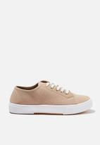 Cotton On - Lisa lace up plimsoll - stone