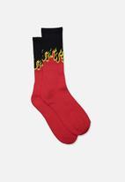 Factorie - Retro ribbed socks - blaze red