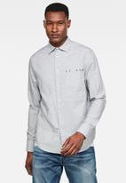 G-Star RAW - Dowl straight fit long sleeve shirt - white/mazarine blue oxford