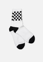 Factorie - Retro sport sock - white & black