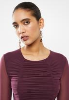 Blake - Mesh ruching mini dress - burgundy