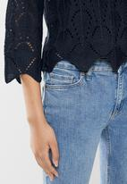 Jacqueline de Yong - Cole cropped pullover knit - navy