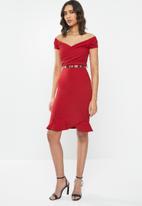 Sissy Boy - Girl boss: asymmetric midi dress - deep red