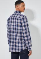 Superbalist - Barber regular fit long sleeve shirt - navy & brown