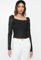 Vero Moda - Alba long sleeve square neck top - black