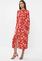 Vero Moda - Simply easy long sleeve long shirt dress - goji berry