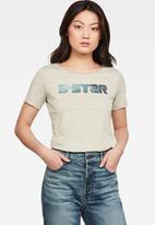 G-Star RAW - G-star mysid optic slim short sleeve tee - grey vintage/lime neon