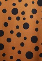 Superbalist - Round neck dress with key-hole - brown & black