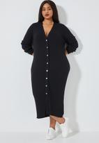 Superbalist - Button through rib dress - black