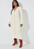 Superbalist - Button through rib dress - off white