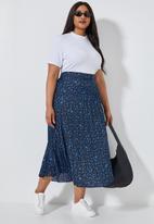 Superbalist - Asymmetrical midi pleated skirt - blue & black