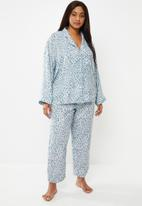 Superbalist - Plus sleep shirt & pants set - blue & white
