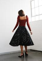 Me&B - Paint splatter a-line skirt - black & white