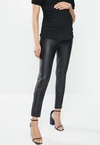 Missguided - Maternity leather look legging - black