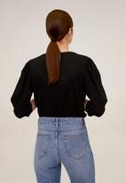 MANGO - Plis T-shirt - black