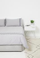 Sixth Floor - Gemma embroidered cotton duvet set - grey