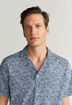 MANGO - Leaf -h shirt - navy