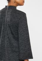 edit - Zip back texture turtleneck top - charcoal
