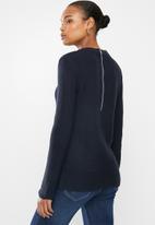 edit - Back zip crew neck jersey - navy