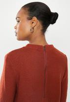 edit - Back zip crew neck jersey - rust