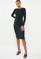 edit - Long sleeve side knot midi dress - black
