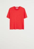 MANGO - T-shirt ribor - red