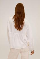 MANGO - Blouse feather - white