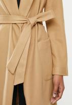MILLA - Shawl collar coat - stone
