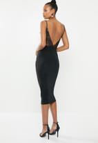 Missguided - Slinky lace back midi dress - black