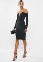 Missguided - Bardot V-bar bodycon dress - black