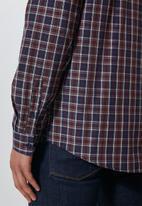 Superbalist - Barber regular fit long sleeve shirt - navy & burgundy