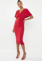Missguided - Wrap kimono midi dress - red