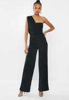 Missguided - One shoulder drape jumpsuit - black