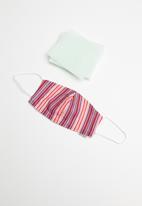 Jockey - Reuseable cotton mask + 5 filters - celebrity stripe sporty