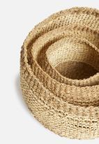 H&S - Round basket set of 3 - natural