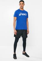 Asics - Silver Asics tee - blue & brilliant white