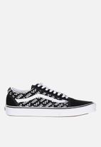 Vans - Old Skool - (logo repeat) black & true white