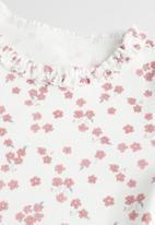 MANGO - T-shirt garden - off white & pink