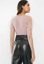 VELVET - Dobby combo bodysuit - mauve