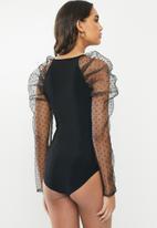 VELVET - Dobby combo bodysuit - black