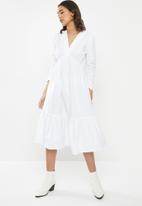 VELVET - Cotton v-neck tiered midi dress - white