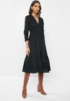 VELVET - Cotton v-neck tiered midi dress - black