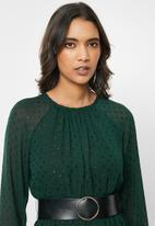 VELVET - Pu belt midi dress - emerald