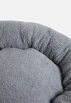 Sixth Floor - Full sherpa dog bed with faux leather handle - grey
