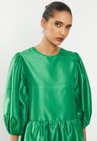Blake - Thai silk tiered mini dress - green