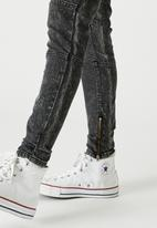 Factorie - Zip panel super skinny jean - black acid wash
