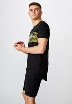 Factorie - Ny camo curved panel graphic T- shirt - black